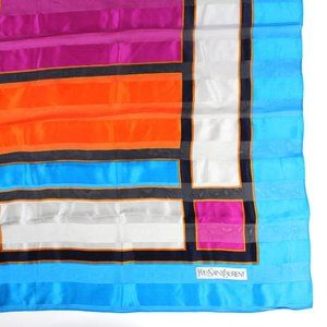 YSL Mondrian Color Block Silk Scarf